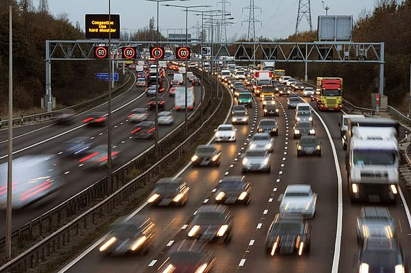 Evening rush hour traffic on the M6 in Great Britain