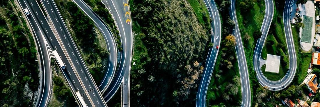 Aerial view of interlaced roads