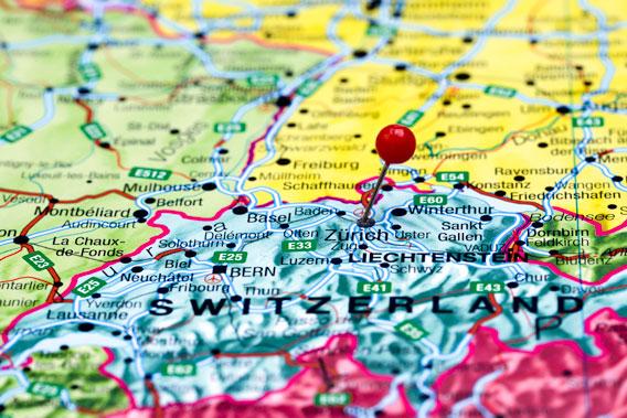 Švýcarsko na mapě