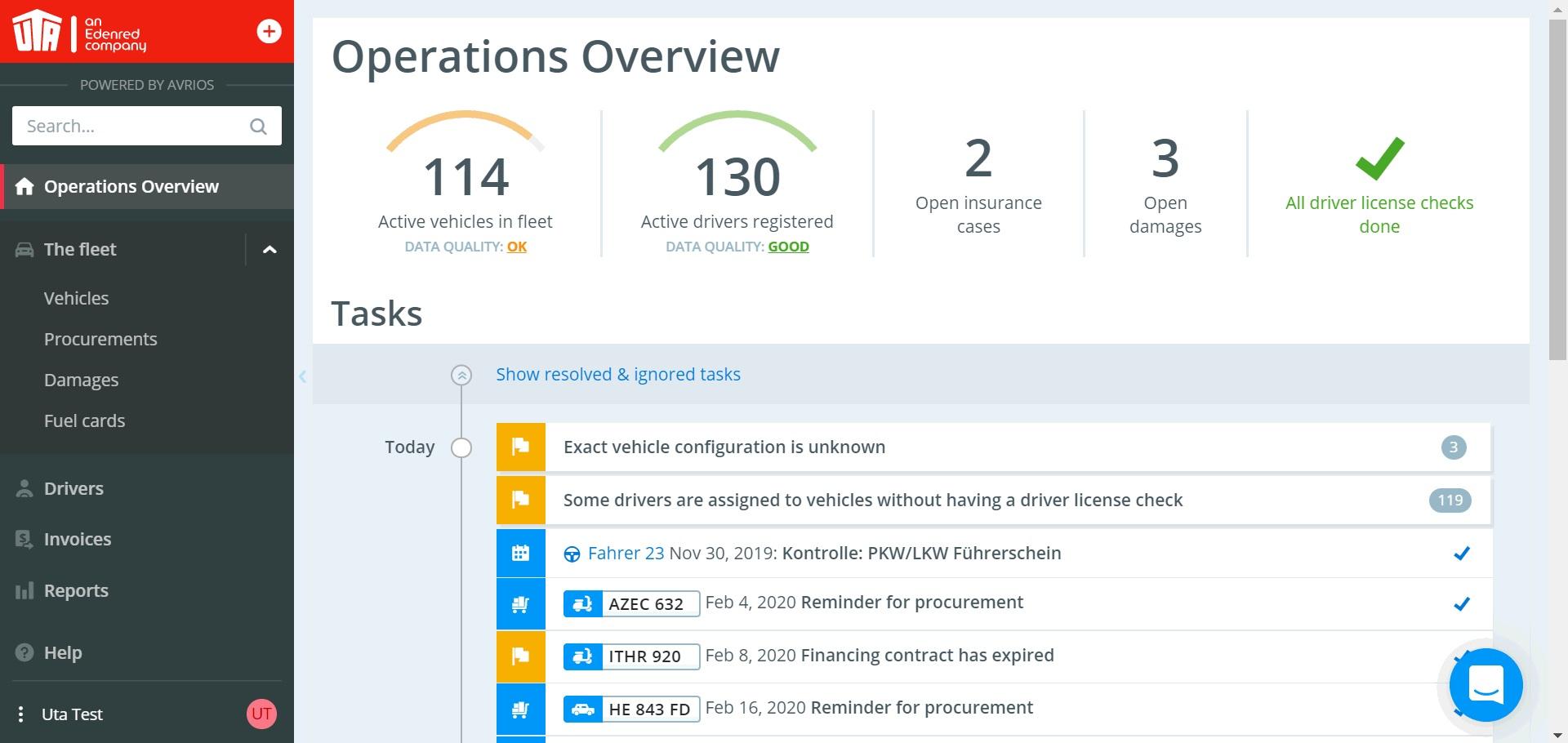 UTA Fleet Manager for optimal, all in one fleet management